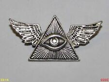 Nueva Insignia Broche Pin alas Steampunk ojo que ve todo Illuminati Triángulo Masónica