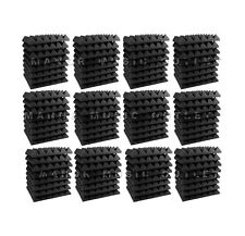 "96 pc Acoustic Foam Pyramid ALL GREY 12x12x2"" Studio Soundproofing tile"