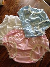 Vintage Style Trio (3)NYLON PANTIE Long Wide Double GUSSET Gathered SatIn Inset