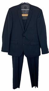 SABA Mens Black Striped 2 Button 100% Wool Suit Blazer 42 & Pants W36 L33