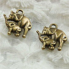 Free Ship 210 pieces bronze plated elephant charms 15x14mm #281