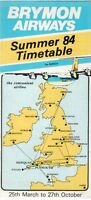 BRYMON AIRWAYS TIMETABLE SUMMER 1984