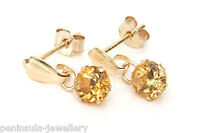 9ct Gold Citrine drop Round Earrings Gift Boxed Made in UK Christmas Gift