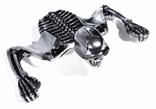 Totenkopf Skelett Visor in Chrom Ornament für Harley Sportster chopper Motorrad