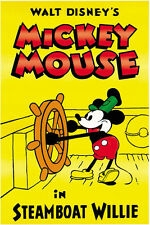 Steamboat Willie (1928) Mickey Mouse Disney cartoon poster print