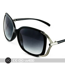 Large Format Womens Fashion Oversized Chic Black Silver Sunglasses S099