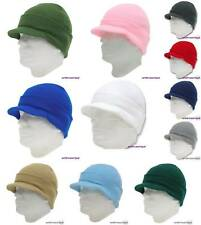 4 KNIT HAT BEANIE WITH VISOR Ski Jeep Winter Cap  Stretch fit One Size fit most