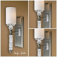 """THREE 20"""" GLASS & CRYSTAL BRUSHED NICKEL MODERN WALL SCONCE LIGHTS  UTTERMOST"""