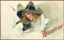 Fabric Block Vintage Halloween Postcard on Fabric Witch Black Cat