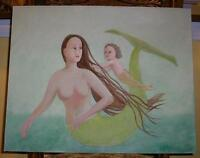 MERMAID GREEN MOTHER CHILD NAUTICAL OCEAN FOLK ART SEA SWIMMNG SWIM OIL PAINTING