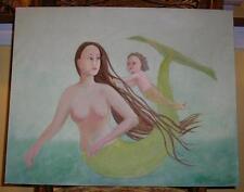 New listing MERMAID GREEN MOTHER CHILD NAUTICAL OCEAN FOLK ART SEA SWIMMNG SWIM OIL PAINTING