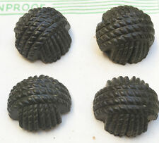 1940s Racing Green 2cm Bakelite Woven Thread Buttons -12 on Display Card