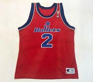 Vintage Champion NBA Washington Bullets CHRIS WEBBER #2 Jersey Red Sz 44 USA