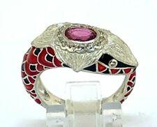 Snakes Ring Pink Tourmaline & White Topaz 925-er Silver Antik Style #53
