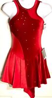 GK FIGURE SKATE DRESS ADULT SMALL RED HALTER VELVET NYLON/SPANDEX HALTER JA AS
