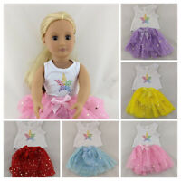 RAINBOW STAR TOP & TUTU SKIRT FITS OUR GENERATION / AMERICAN GIRL DOLL CLOTHES