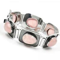 Silberarmband mit Rosenquarz aus 800 Silber silver bracelet 18 cm .