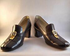 Vintage Monumental Gucci Vitello Maroon Brown Leather Stack Heels Buckle 41 B 11