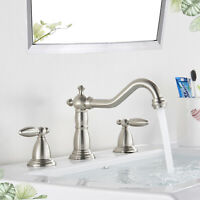Bathroom Widespread Basin Faucet 3 Holes Vanity Mixer Tap Brushed Nickel