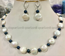 Nature 13-14mm White Coin Pearl & 5-6mm Black Pearl Necklace Earrings Set 18''