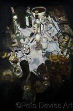 """ORIGINALE Pete Davies """"L'ULTIMA CENA"""" CARAVAGGIO stile olio tela dipinto"""