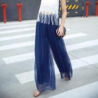 High waist maxi loose casual pants palazzo wide leg trousers harem Women flared