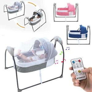 Portable Electric Bluetooth Baby Swing Cradle Bassinet Rocking Crib Infant Bed