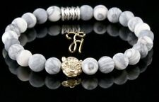 Jasper White Grey Matt 8mm Bracelet Pearl Bracelet Golden Tiger Head