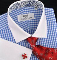 Mens Blue White Contrast French Double Cuff Formal Business Checkers Dress Shirt