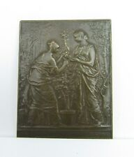 Daniel Dupuis 1892 Bronze French Art Nouveau Medallion Signed Gardening Plaque