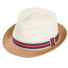 Crushable Straw Summer Foldable Trilby Two Tone Hat With Stripey Band