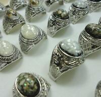 30pcs Abalone Shell Silver Plate Men's rings Fashion Mix Wholesale Jewelry Lots