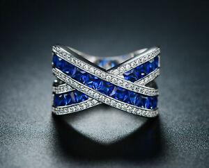 3.Ct Cushion Cut Blue Sapphire Halo Engagement Ring 18K White Gold Finish