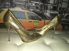 Pencey Metallic Gold Snakeskin Minnie Mouse  Stiletto Pumps 8.5 MSRP $385