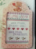 Baby Girl Teddy Bear & Bees Cross Stitch Kit, Pink Frame, Beware Bear # 6109 NEW