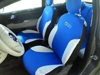 Fodere Foderine Coprisedili auto azzurre bianche su misura FIAT 500 07> ANT+POST