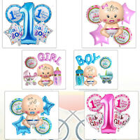 5pcs 1st Birthday Baby Shower Party Decoration Foil Balloon for Newborn Boy Girl