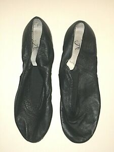 ALEXANDRA AC2 BLACK LEATHER SLIP ON DANCE JAZZ HIP HOP SHOES GIRLS BOYS 8 8AD