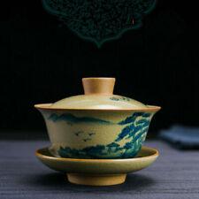 creative gaiwan crackle glaze porcelain tureen handpainted cup bowl saucer new