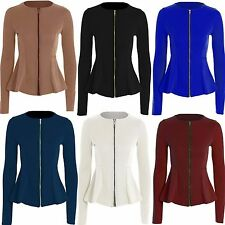 Zip Waist Length Blazer Casual Coats & Jackets for Women