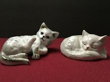 2 Vintage Danbury Mint Cats of Character Kittens Porcelain Figurines