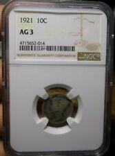 1921 Mercury Dime AG3 NGC