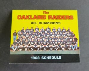 1968 Oakland Raiders Rare Football Schedule