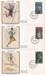 CANADA 1975 COLORANO SILK FDC SET $664/66, TRACK & FIELD OLYMPICS 1976 !! C5