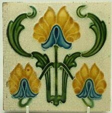 Art Nouveau Embossed Majolica Tile C1905 Corn Bros #2