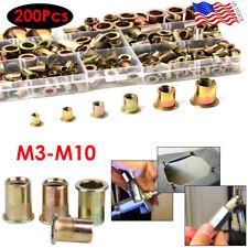 200pcs Mixed Rivet Nut Tool Kit Set Zinc Rivnut Insert Threaded Nutsert M3 M10