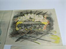 More details for original 1940s war artist sketches holland northern france tank typhoon