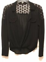 Women's Black XOXO Long Sleeve Deep V Sheer Lace Trimmed Blouse Size XS
