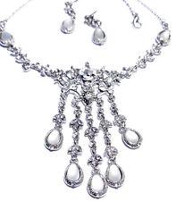 Wholesale Jewerly Lot Rose Rhinestone Necklace Earring 4 Sets Prom Bridal