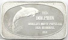 1974 The Dolphin World's Most Popular Sea Mammal 1 oz. .999 Silver Bar Ussc